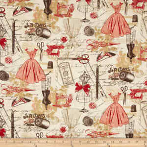 Timeless Treasures Vintage Sewing Red Fabric 0394745 By The Yard