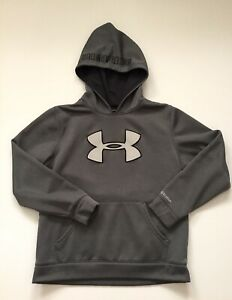 Boys Youth Under Armour Gray Hoodie Sweat Shirt Sz YLG Large