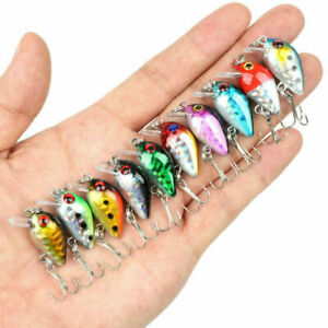 10pcs Fishing Lures Kinds Of Mini Minnow Fish Bass Tackle Hooks Baits Crankbaits
