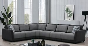 6 PC TWO TONE GREY CHENILLE LOW PROFILE MODULAR SECTIONAL LIVING ROOM SECTIONAL