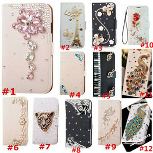 Flip Bling Diamonds Wallet Stand Case Leather Cover For Samsung A5 A7 A8 A9 2018