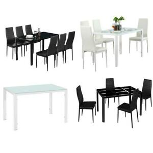 Ifferent Types Black White 5 7 Piece Glass Dining Table Chairs Kitchen Furniture