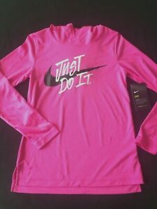 NIKE DRY DRI FIT GIRLS JUST DO IT HOT PINK HOODED SHIRT PULLOVER MEDIUM NEW $16.99