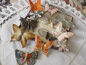 Lovely Mixed Collection of Vintage 1950s/60s/70s BUTTERFLY Brooches