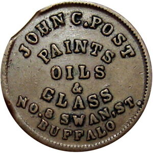 1863 Buffalo New York Civil War Token John C Post Paints Oils & Glass