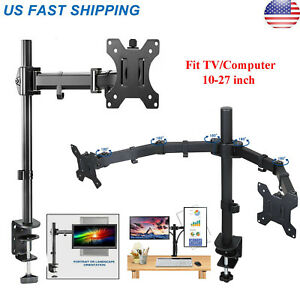 Dual Full Motion VESA Monitor Desk Mount Heavy Duty Double Arm Fits up to 27 $25.45