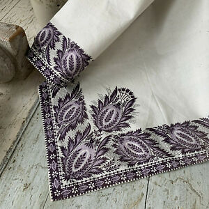 Antique French Fichu Neckerchief Shawl 1800's purple block printed border