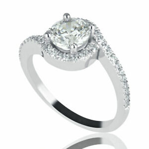 1 CT Elegant Natural Diamond Engagement Ring Round Cut FSI1 18K White Gold