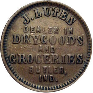 Butler Indiana Civil War Token J Lutes Very Scarce Single Merchant Town