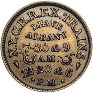 Albany New York Civil War Token NYCRR Railroad Train Schedule Buffalo