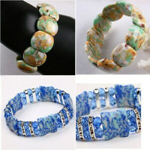 Natural Gemstone Women Men Shell Turquoise Bead Bracelet Wristband Fashion US