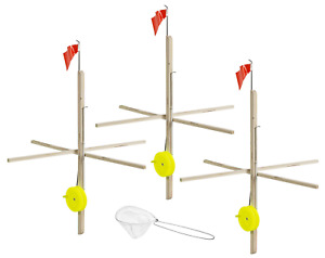 Multi 3 Pack Tip Up Tackle Fishing Ice Ups Sports Camp Outdoors