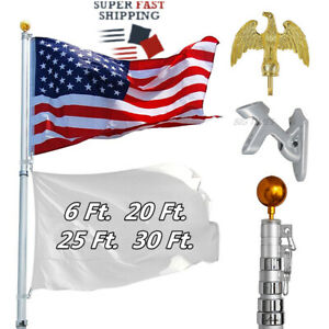6/20/25/30Ft Flagpole Aluminum Telescopic Flag Pole Kit with US Flag Gold Ball