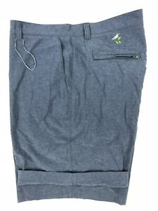 Peter Millar Crown Sport Men's Size 42 Blue Zipper Pocket Flat Front Golf Shorts