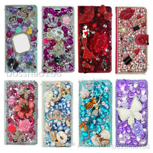For Samsung Phone Case Bling diamonds Leather stand wallet Purse cover