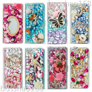 Flip Leather Phone Case Bling diamonds stand wallet cover & straps For Samsung 2