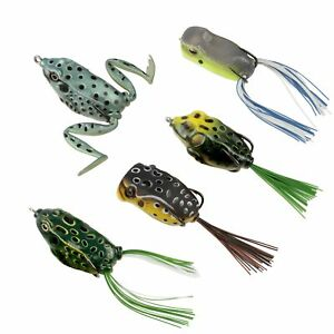 RUNCL Topwater Frog Lures Soft Fishing Lure Kit with Tackle Box for Bass... New