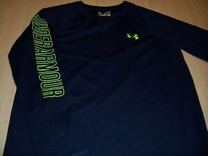 UNDER ARMOUR ALLSEASONGEAR LOOSE LS BLUE T-SHIRT BOYS XL 18-20 EXCELLENT