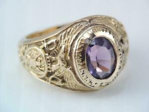 VINTAGE 1941 10K GOLD PENNSYLVANIA MILITARY COLLEGE RING J.E. CALDWELL AMETHYST $695.99