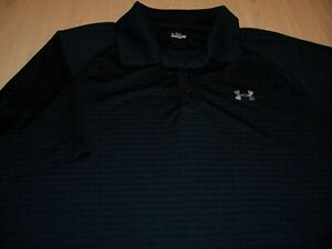 UNDER ARMOUR SHORT SLEEVE BLACK POLO SHIRT MENS LARGE EXCELLENT