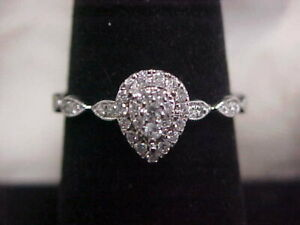 *VINTAGE*STYLE*PEAR SHAPED NATURAL DIAMOND CLUSTER PROMISE RING 10K WHITE GOLD