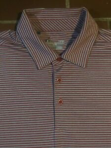 UNDER ARMOUR GOLF POLO SHIRT -L- RED GRAY HEATHER STRIPE- STRETCH -HEAT GEAR