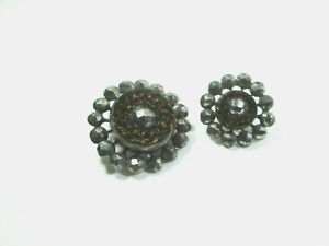 Mother & Daughter Victorian Black Glass Buttons - Goldstone - Cut Steel Borders