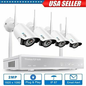A-ZONE 4CH 1080P NVR Wifi Wireless Security Camera System Home Outdoor CCTV #US