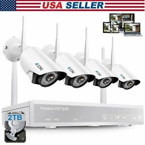 A-ZONE 1080P 4CH NVR Wifi Wireless IP Camera Security System CCTV + 2TB HDD #US
