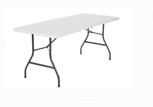 Cosco 6 Foot Centerfold Folding Table, White , New 100%