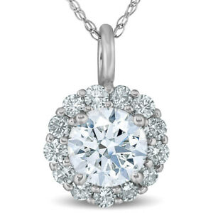 1 Ct Halo Diamond Pendant Necklace 18quot; 14k White Gold