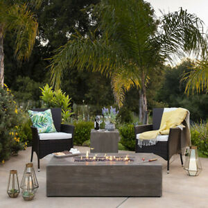 Fire Pit Rustic Wood Look Table Gas Propane Tank Cover Lava Rocks Patio Outdoor