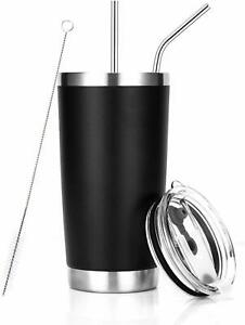 20 oz Tumbler Stainless Steel Insulated Travel Mug with Straw Lid Cleaning Brush