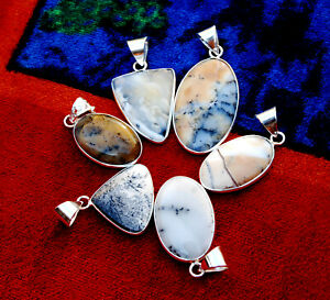New 50 PCs Lot Natural DENDRITIC AGATE Gemstone 925 Silver Plated Bezel Pendants
