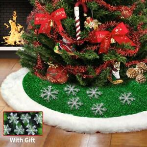 Christmas Tree Skirt 48 inches Green and White Plush Faux Fur Luxury Xmas Tree $15.99