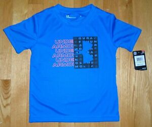 Under Armour Boys Tee Short Sleeve T-Shirt Powderkeg Blue Toddler 4 4T NWT