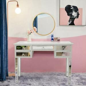 New Modern Mirrored Console Table Makeup Vanity Desk with 5 Drawers Storage $179.99