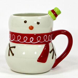 Target BE MERRY - SNOWMAN 16oz Figural Mug Green Hat Red Scarf Holiday 2008