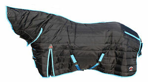 600 Denier Horse Coat Rug Winter BLANKET Neck Black Turquoise 6904N