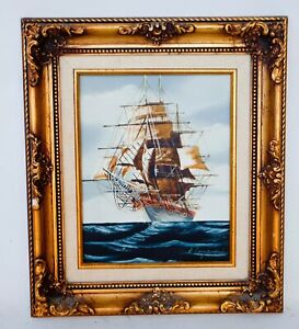 Vintage Oil On Canvas Of Clipper Ship Tall Ship Boat At Sea Signed  15