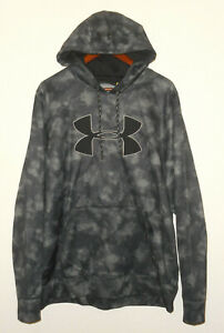UNDER ARMOUR Pullover HOODIE Sweatshirt STORM 1 Loose fit GRAY Abstract Mens XL