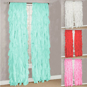 Sheer Voile Vertical Ruffled Window Curtain Panel