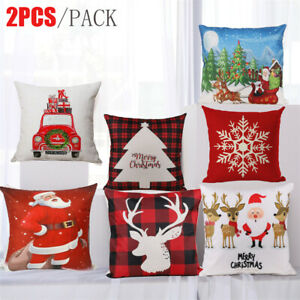 Set 2pc Christmas Throw Cushion Cover Pillow Case Zipper Closure Xmas Home Decor $6.91