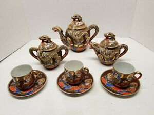 Vintage Japanese Satsuma Dragon Ware Tea 12 Pieces Set Saki Set Dragonware