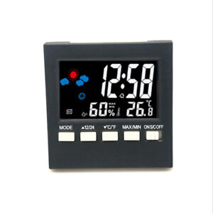 LCD Digital Display Thermometer Humidity Clock Colorful Alarm Calendar Weather