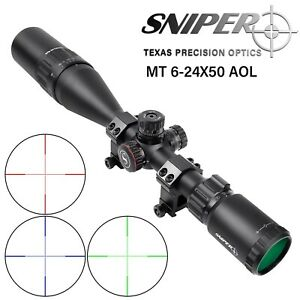 Sniper 6.5 20X44AO Hunting Rifle Scope with R G Illuminated Mil Dot Reticle
