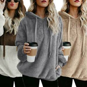 Womens Teddy Polar Fleece Sweatshirt Hoodie Jumper Hooded Tops Pullover Jacket