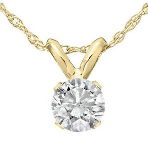 1 3 Ct Solitaire Round Diamond Pendant Necklace 18quot; 14K Yellow Gold