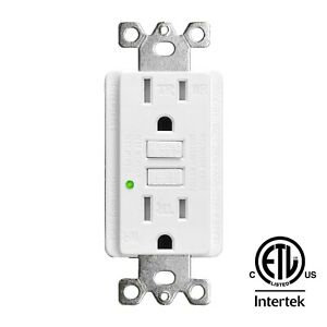 15A/125V/2500W GFCI Outlet Tamper Resistant TR WR Receptacle with Wall Plate ETL