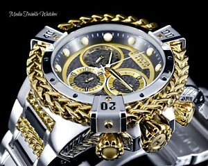 NEW 52MM Invicta RESERVE Bolt HERCULES Silver & Gold Swiss Chrono Bracelet Watch